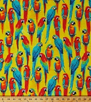 Cotton Parrots Macaws Exotic Tropical Birds on Yellow One of a Kind Animal Kingdom Nature Cotton Fabric Print by the Yard (49001-3)