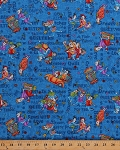 Cotton Quilter Ladies Women Seamstress Quilting Sewing Supplies Pins Needles Buttons Pogo Sticks Mopeds Cars Selfies Comic-Look Words Phrases Shopping Shop Hop Blue Cotton Fabric Print by the Yard (8670-77)