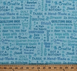 Cotton Sewing Phrases Quilters Quilting Seamstress Shopping Fashionista Roadtrip Road Trip Words Font Script Shop Hop Cotton Fabric Print by the Yard (8664-11)