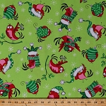 Cotton Christmas Funny Birds Wearing Christmas Hats Scarves Ornaments Hot Chocolate Cocoa Cartoon Comic Animals Holidays Festive Winter Christmas Novelty Green Cotton Fabric Print by the Yard (6593-44)
