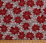 Cotton Poinsettias Red Christmas Flowers Blossoms Blooms Winter Holidays Winterberry Cotton Fabric Print by Yard 13140-15