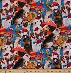 Cotton Holiday Friends Dogs Puppies Wearing Santa Hats Christmas Presents Gifts Holiday Blue Cotton Fabric Print by the Yard (4204-blue)