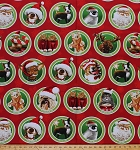 Cotton Making Spirits Bright Animals Ornaments Dogs Cats Moose Penguins Santa Snowflakes Red Christmas Cotton Fabric Print by the Yard (avt-15208-3-red)