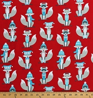 Cotton Foxes Fox Cute Woodland Animals on Red Winter Christmas Holiday Polar Pals Cotton Fabric Print by the Yard (AHE-15965-3RED)