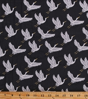 Cotton Japanese Cranes Gold Metallic Flying Birds Clouds Gray Kimono Asian Imperial Cotton Fabric Print by the Yard (TP-2047-S)