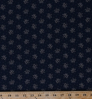 Cotton Jo Morton Hickory Road Tan Flowers Floral Bouquets on Navy Blue Civil War Reproduction Cotton Fabric Print by the Yard (38062-28)
