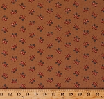 Cotton Jo Morton Hickory Road Flowers Floral Bouquets Circles on Light Brown Civil War Reproduction Cotton Fabric Print by the Yard (38062-13)