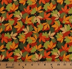Cotton Landscape Fall Leaves Multi-Color Leaf on Green Patrick Lose Let's Go Camping Autumn Carpet Cotton Fabric Print by the Yard (63933-A620715)