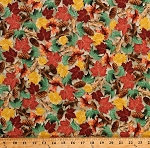 Cotton Autumn Leaves Pinecones Pine Cones Fall Autumnal Nature North Woods Tan Landscape Cotton Fabric Print by the Yard (1649-26261-E)