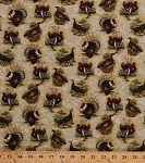 Cotton Turkeys Game Birds Toms Gobblers Hens Thanksgiving Hunting Wildlife Nature Turkey Run Cotton Fabric Print by the Yard (02391-70)