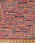 Cotton Fall Words Activities Autumn Harvest Fonts Phrases Writing Pumpkin Apples Leaves Thanksgiving Sunflower Daze Cotton Fabric Print by the Yard (05670-99)