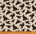 Cotton Rodeo Roundup Cowboys Wild Horses Western Brown Silhouettes on Cream Cotton Fabric Print by the Yard (6907-44)
