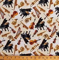 Cotton Musical Instruments Pianos Saxophones Harps Violins Trumpets French Horns Band Music Orchestra Concerto on Cream Cotton Fabric Print by the Yard (06240-07)
