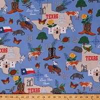 Cotton State of Texas Map Flags Cowboys Rodeo Animals Armadillos Longhorn Western The Lone Star State Blue Cotton Fabric Print by the Yard (48531-X)