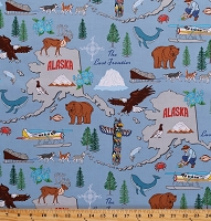 Cotton State of Alaska Map Animals Wildlife Bears Elk Eagles Northwoods Alpine Forget-Me-Nots The Last Frontier Blue Cotton Fabric Print by the Yard (42900-X)