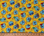 Cotton Pete the Cat Pete Allover on Yellow James Dean Kids Children's Cotton Fabric Print by the Yard (R11-9788-0133)