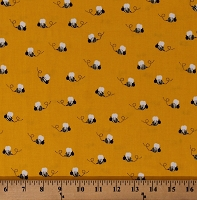 Cotton Bees Bumblebees Insects Bugs on Sunflower Yellow What Do the Animals Say? Kids Cotton Fabric Print by the Yard (ATK-18066-125SUNFLOWER)