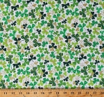 Cotton Shamrocks Green Gold Metallic Shimmer Lucky Clovers on White Saint Patrick's Day Irish Cotton Fabric Print by the Yard (FUN-CM6811-WHITE)