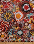 Cotton Tribal African Woven Baskets Designs Southwest Southwestern Flowers Stars Spirals Africa Cotton Fabric Print by the Yard (PWSL045-TERRA)