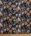Cotton North American Wildlife Packed Wolves Wolf Animals Cotton Fabric Print by the Yard (186-black)