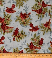 Cotton Cardinals Birds on Blue Holly Leaves Berries Winter Christmas Holiday Flourish 6 Gold Metallic Shimmer Cotton Fabric Print by the Yard (AEBM-13642-254FROST)