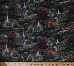 Cotton Spring Chapels Thomas Kinkade Churches Buildings Trees Scenic Pastoral Cotton Fabric Print by the Yard (TK-8060-8C-1MULTI)