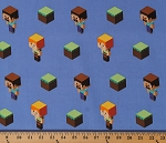 Cotton Minecraft Alex and Steve Toss Video Game Characters on Blue Kids Cotton Fabric Print by the Yard (66765-1600715)
