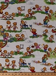 Cotton The Berenstain Bears Fishing Baseball Soccer Brother Sister Friends Playing Summer Fun Scenes Kids Children's Welcome to Bear Country Cream Cotton Fabric Print by the Yard (55501-11)