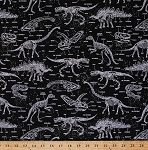 Cotton Dinosaurs Dino Skeletons Skulls Bones Bone Names T-Rex Triceratops Stegosaurus Paleontology Fossils Glow-in-the-Dark Kids Cotton Fabric Print by the Yard (DINO-CG5797-BLACK)