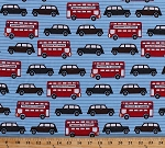 Cotton Next Stop London Double Decker Buses & Cars Travel Tourist England Fabric by the Yard (AWN-12800-63 SKY)