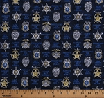 Cotton Police Badges Insignia Emblems Protect & Serve Police Officers Sheriff Dept. Cops Law Enforcement Mottos on Dark Blue Cotton Fabric Print by the Yard (1649-26130-N)
