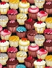 Cotton Cupcakes Cakes Decorated Sprinkles Desserts Sweets Treats Baking Bakery Confections Kitchen Food Black Cotton Fabric Print by the Yard (GM-C5993-multi)