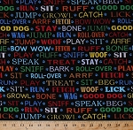 Cotton Dogs Lingo Words Phrases Sayings Commands Pets Animals Paws Paw Prints on Black In the Dog House Cotton Fabric Print by the Yard (05874-99)