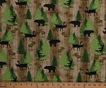 Cotton Northwoods Animals Moose Bears Deer Wildlife Pine Trees Evergreens on Brown Cabin Wood Moose Trail Lodge Cotton Fabric Print by the Yard (1649-26683-A)