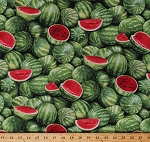 Cotton Watermelons Melon Fruits Summer Food Festival Green Cotton Fabric Print by the Yard (563GREEN)