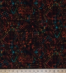Cotton Batik-look Coral Reef Tropics Geometric Aztec Mayan Screen Print on Black Cotton Fabric Print By the Yard (3573H-6J)