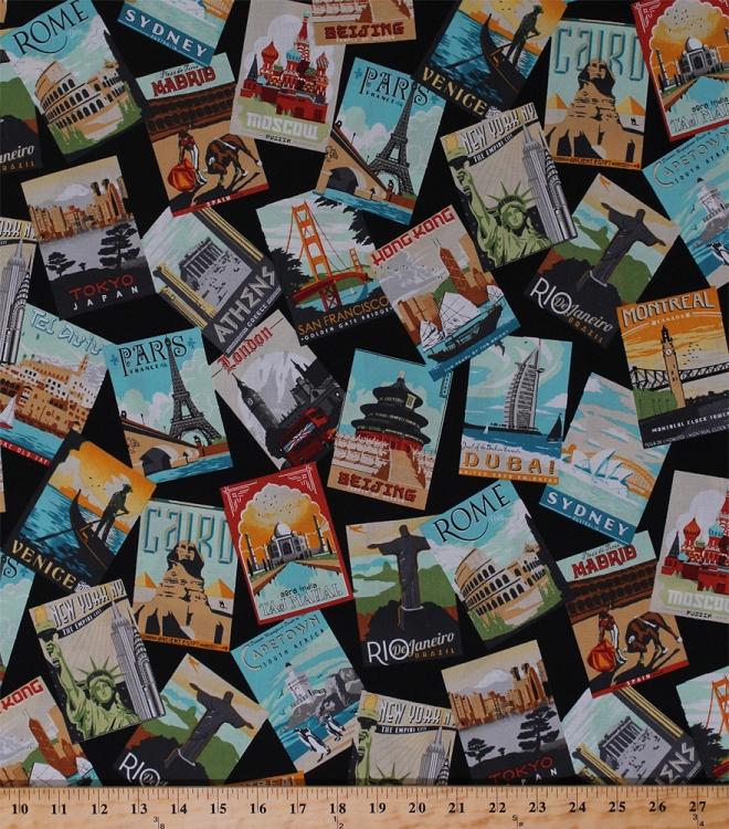 Cotton Postcards World Travel Destinations Landmarks