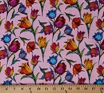 Cotton Tulips Flowers Spring Multi-Color Floral on Pink Butterflies Are Free Cotton Fabric Print by the Yard (120-10883)