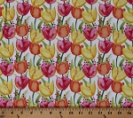 Cotton Tulips Pink Orange Yellow Flowers Floral on White Bloom Bouquet Spring Garden Cotton Fabric Print by the Yard (B-9193-01)