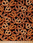 Giant Soft Pretzels Snack Food Culinary Baking Kitchen NY State of Mind Cotton Fabric By the Yard (05570-12)