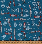Cotton The Cat in the Hat Celebration Dr. Seuss Children's Books Kids Blue Cotton Fabric Print by the Yard (ade-10796-203-celebration)