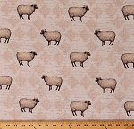 Cotton Sheep Lambs Farm Animals on Cream Country Good To Be Home Cotton Fabric Print by the Yard (Y2244-116)