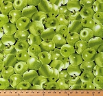 Cotton Green Apples Allover Fruits Food on Black Kitchen Harvest Country Farmers' Market Cotton Fabric Print by the Yard (FOOD-C5842-GREEN)