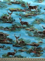 Cotton Deer Lake Deer Fawn Buck Doe Woodland Animals Blue Cotton Fabric Print by the Yard (dc4048-blue-d)