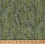 Cotton Cactus Cacti Spines Southwestern Southwest Desert Plants Succulents Green Cotton Fabric Print by the Yard (west-c5034)