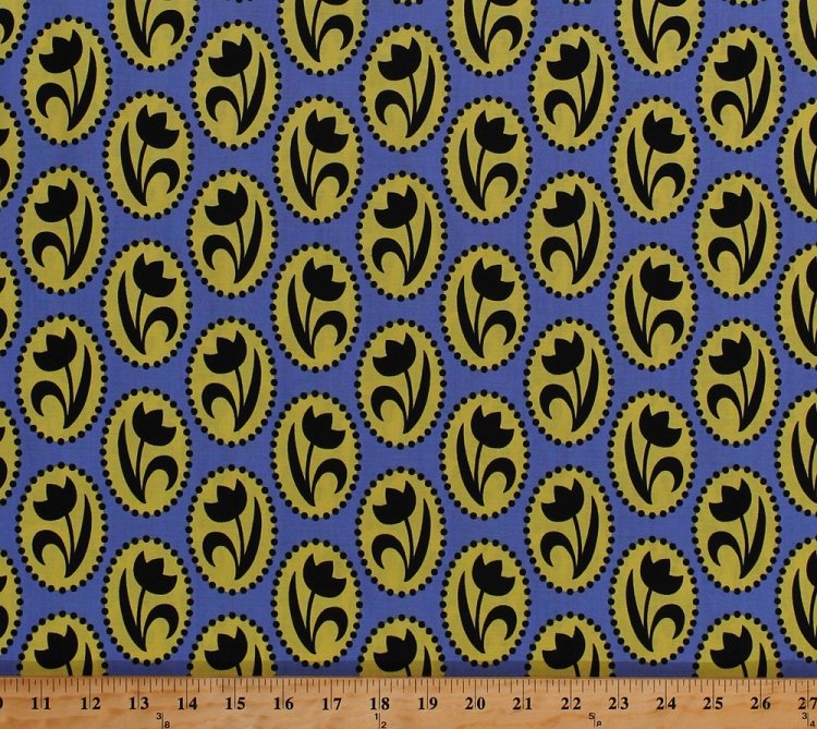 Cotton Dutch Tulips Flowers Floral Ovals Yellow Blue Netherlands ...