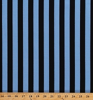 Cotton Blue & Black Stripes 3/4