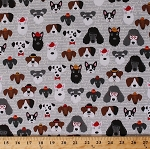 Cotton Classy Canines Dogs Wearing Hats Glasses Gray Cotton Fabric Print by the Yard (amf-16497-200-vintage)
