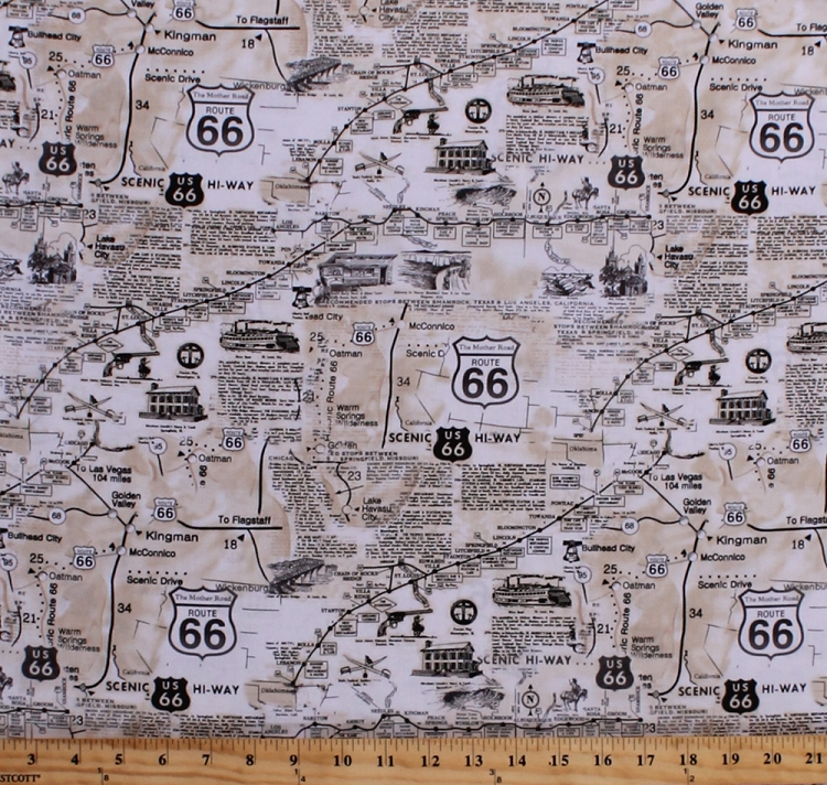 Cotton vintage route 66 map newspaper print road signs roads road cotton vintage route 66 map newspaper print road signs roads road trip travel cotton fabric print by the yard c7529 gumiabroncs Choice Image