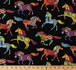 Cotton Southwestern Horses Decorated Horse Aztec Tribal Designs Feathers Bright Multi-Color Animals on Black Cotton Fabric Print by the Yard (WEST-C5160-BRITE)